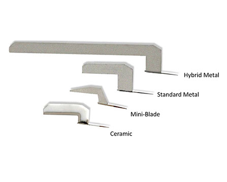 Partial selection of blades shown above include (top to bottom): Hybrid Metal, Standard Metal, Mini-Blade, Ceramic.